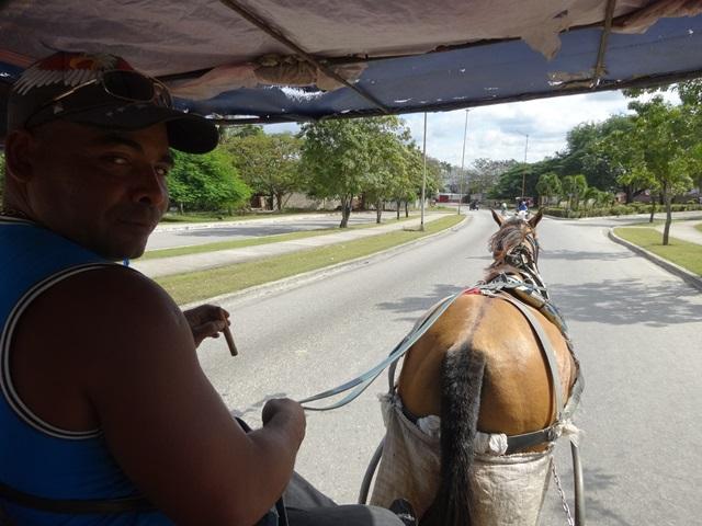 Horse cart taxi in Santa Clara, Cuba, Blue Sky and Wine