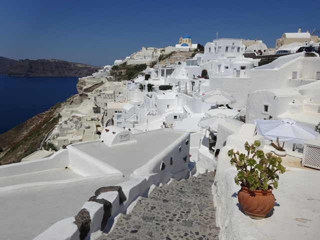 Fira in Santorini Greece, Blue Sky and Wine