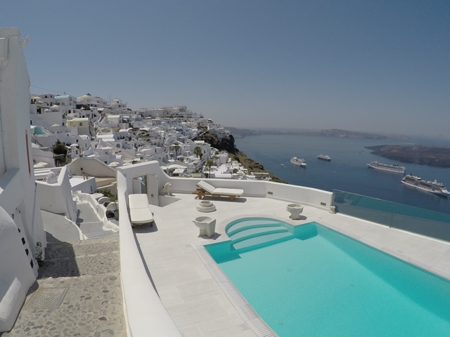 Fira Santorini, Greece, Blue Sky and Wine