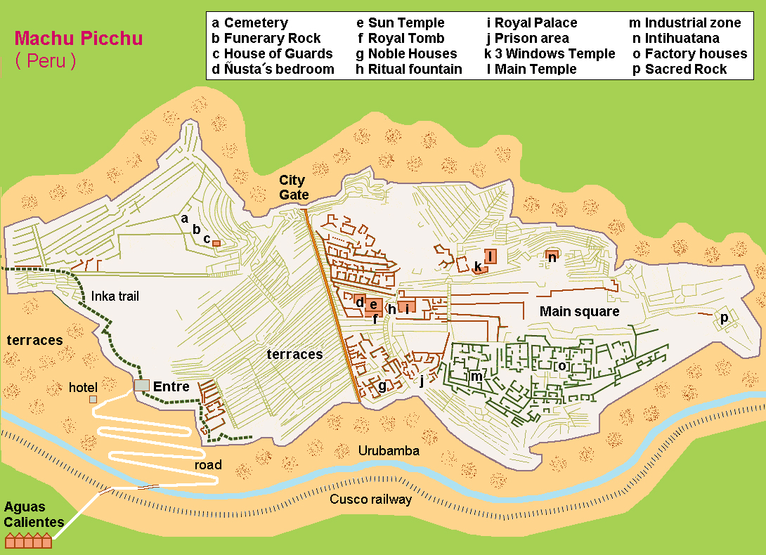 machu-picchu-sitemap, Peru, Blue Sky and Wine