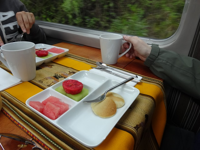 Breakfast on the train, Machu Picchu by Train, Peru, Blue Sky and Wine