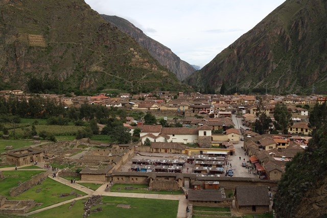 Ollantaytambo, Peru, Blue Sky and Wine