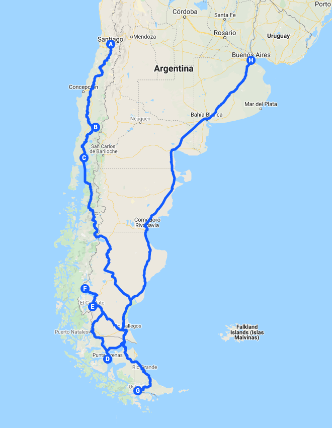 Blue Sky and Wine, Patagonia tour map