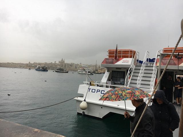 Ferry port outside Sliema Marina Hotel, Malta, Blue Sky and Wine