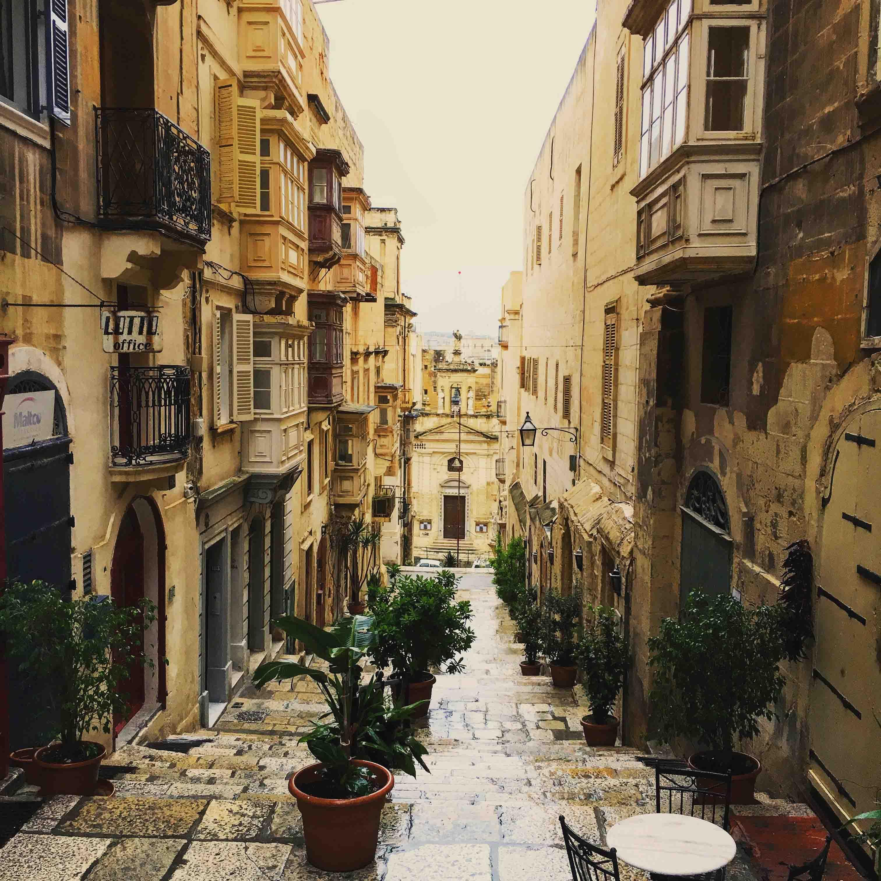Valletta street view, Malta, Blue Sky and Wine