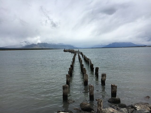Blue Sky and Wine, Puerto Natales waterfront, Chile