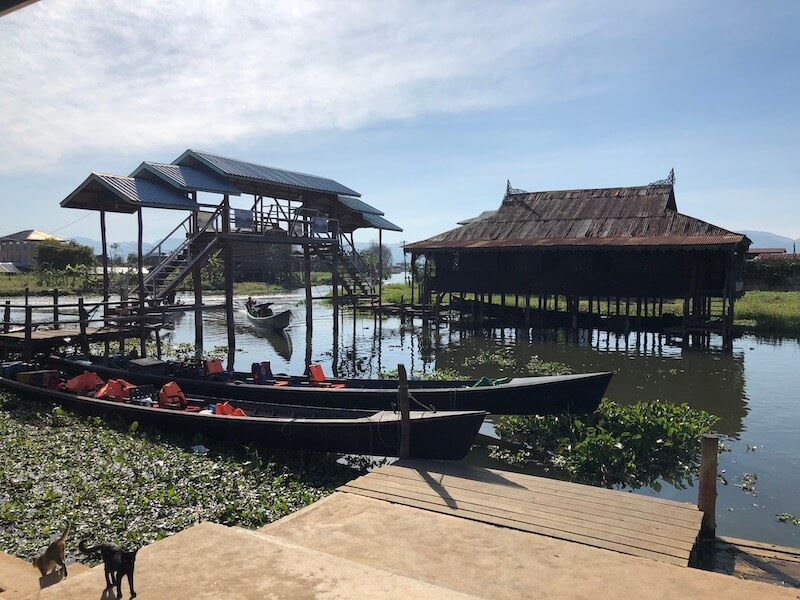 Nga Phe Chaung Monastery gate inle lake, blue sky and wine