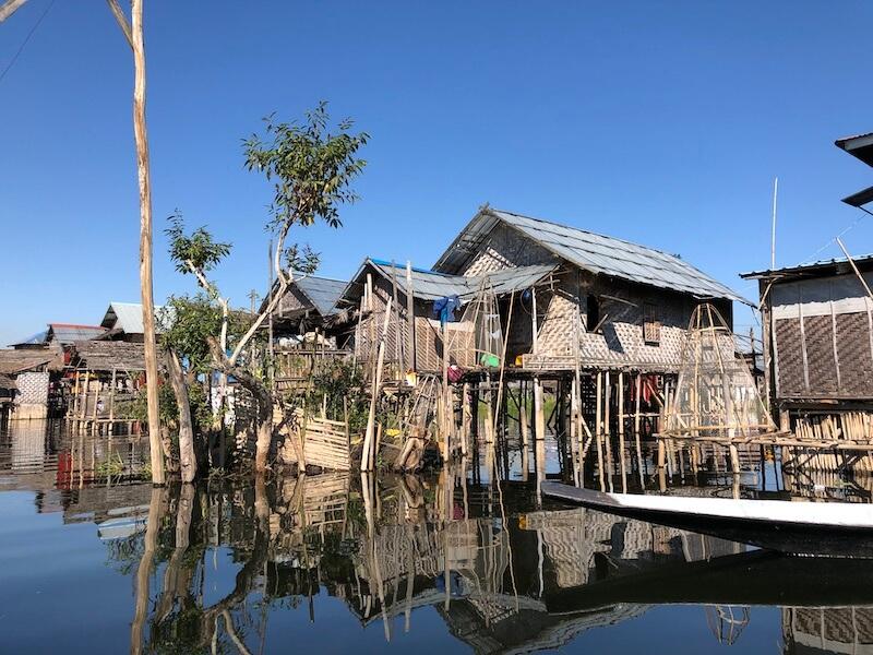 Ywama floating village inle lake myanmar Blue Sky and Wine
