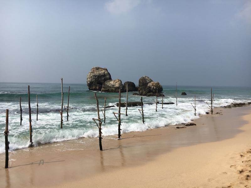 Stilts in Galle, Sri Lanka, Blue Sky and Wine