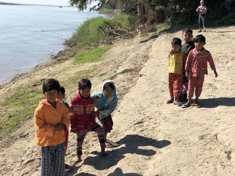 Blue Sky ad Wine, Boat trip from Mandalay to Bagan, local Village on ayeyarwaddy river bank