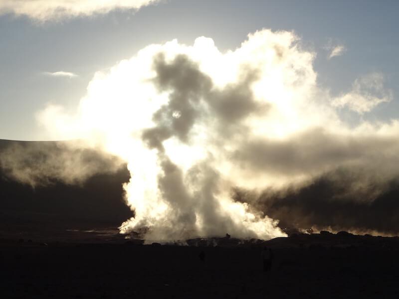 Volcano geyser, Eduardo Avaroa National Park, Bolivia, Blue Sky and Wine