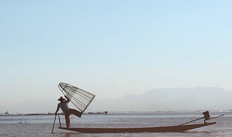 Fisherman posing inle lake myanmar, Blue Sky and Wine
