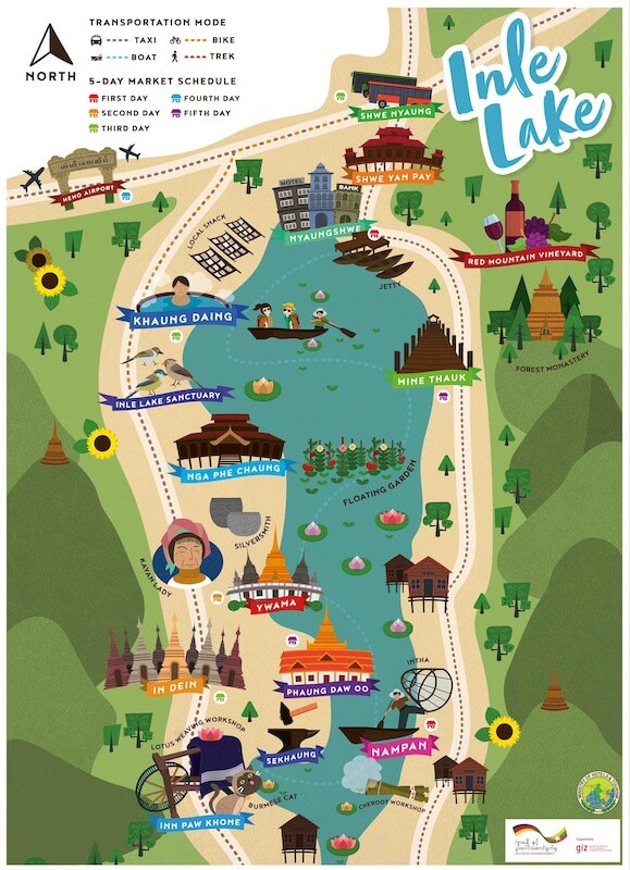 Inle Lake tour map small area, Blue Sky and Wine
