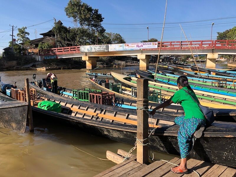 Inle boat station Inle Lake Myanmar, Blue Sky and Wine