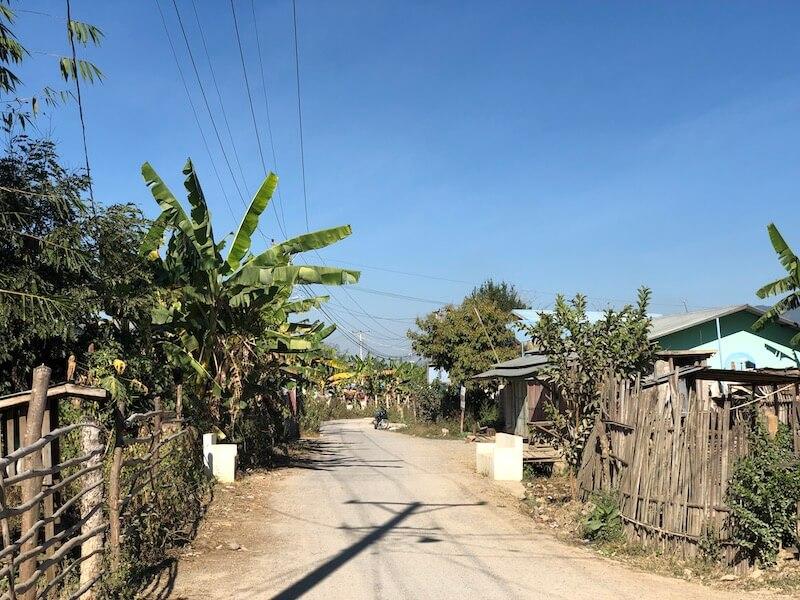 Nyaung shwe street view, Inle Lake Myanmar, Blue Sky and Wine