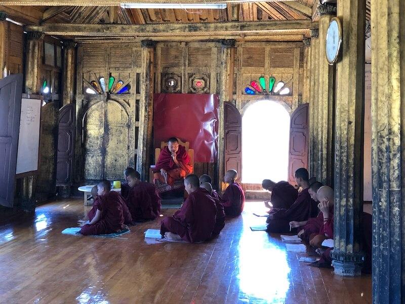 shwe yaunghwe kyaung - shwe yan pay, Inle Lake, Blue Sky and Wine