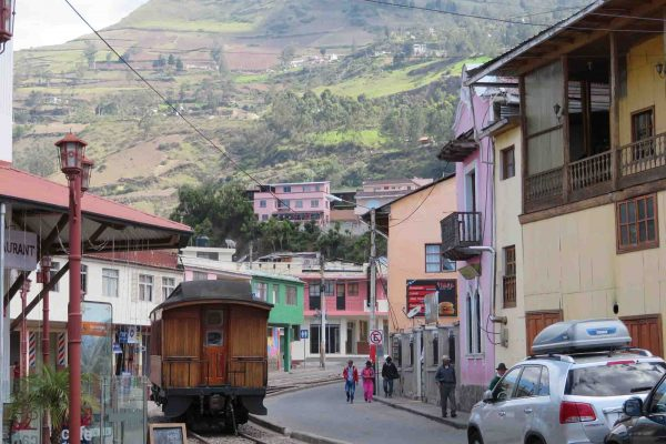 Alausí, boarding on the Devil's Nose train through the Andes