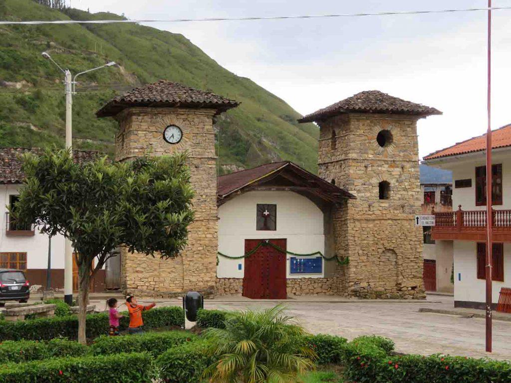 Leymebamba Square corner, Blue Sky and Wine Travel Blog