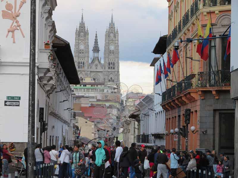 Ecuador Quito Busy Historical Center, Blue Sky and Wine Travel Blog