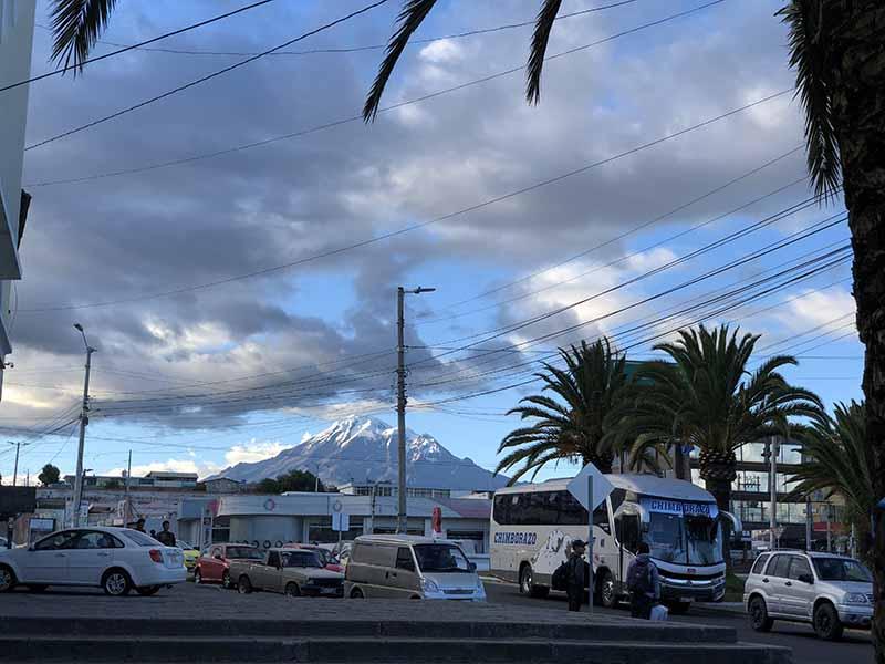 Ecuador Riobamba bus terminal seeing Chimborazo summit, Blue Sky and Wine Travel Blog