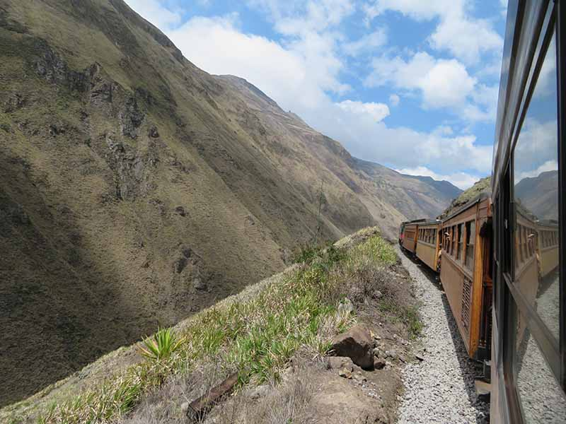Ecuador alausi devil's nose train window view, Blue Sky and Wine Travel Blog