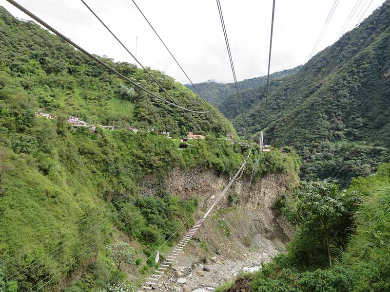 Zip Line as part of the waterfall tour from Baños, Blue Sky and Wine Travel Blog